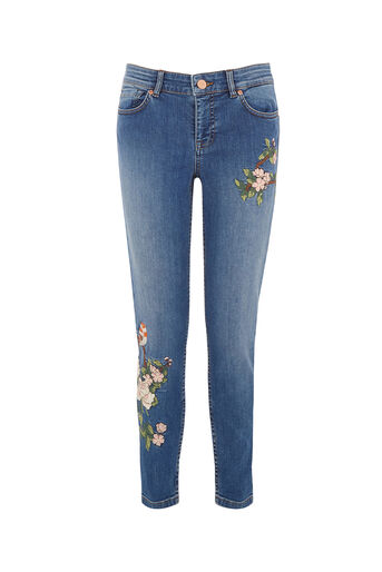 Oasis, BIRD EMBROIDERED JEAN Denim 0
