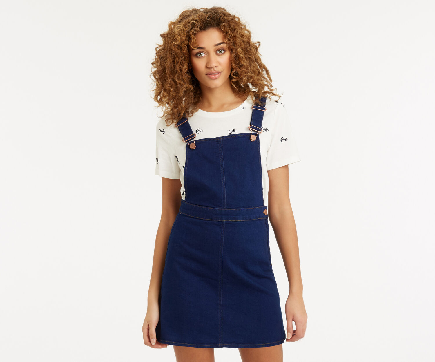 Oasis, Dungaree Denim Dress Denim 1