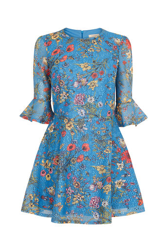 Oasis, SHORT AZELIA PRINTED DRESS Multi Blue 0