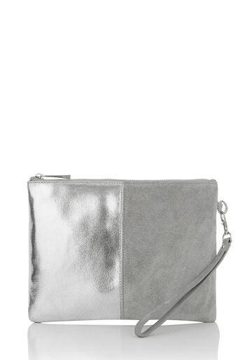 Oasis, FREYA PATCHED CLUTCH Mid Grey 0