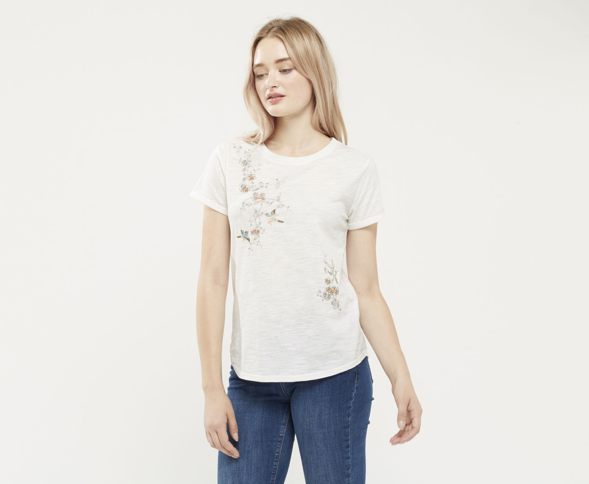 Oasis, EMBROIDERED TEE Pale Pink 1