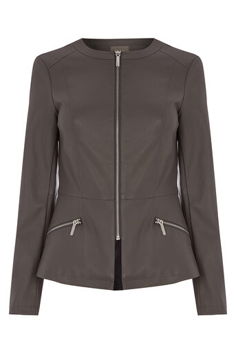 Oasis, FAUX LEATHER COLLARLESS JACKET Mid Grey 0