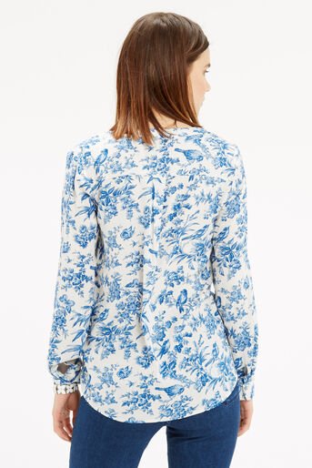 Oasis, Rosey Bird Viscose Shirt Multi Natural 3