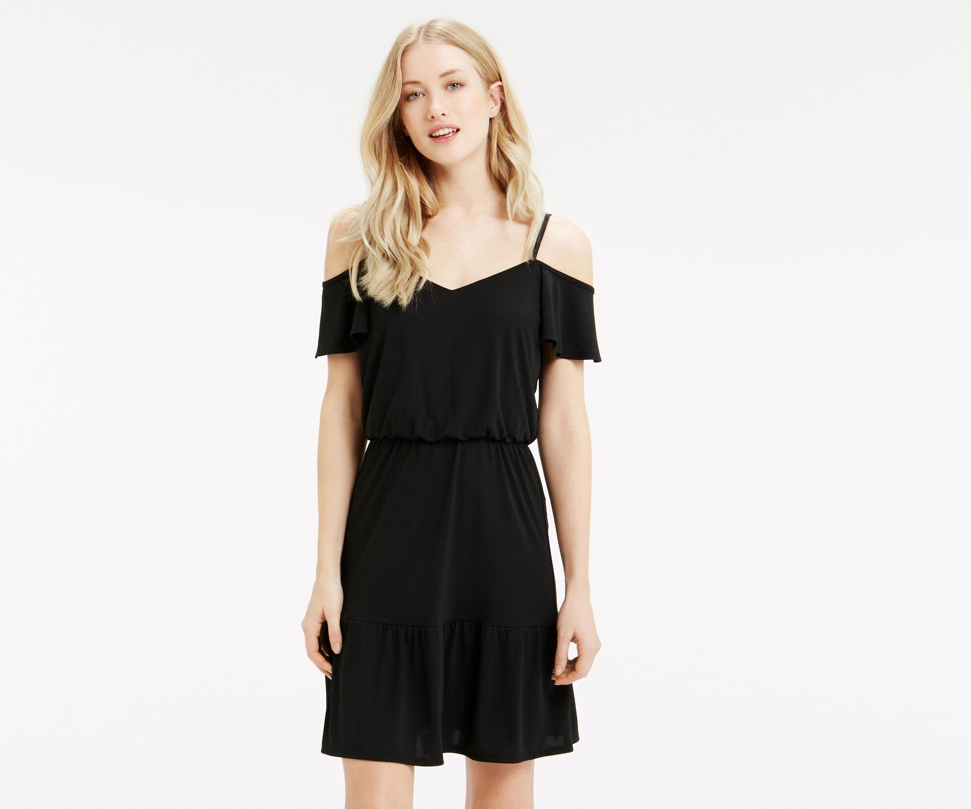 Oasis, Bardot Ruffle Hem Dress Black 1