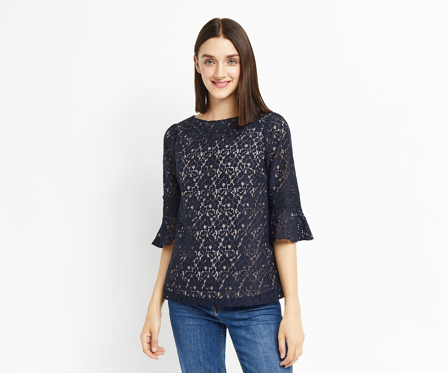 Oasis, LACE TRIM FLUTE SLEEVE TOP Navy 1