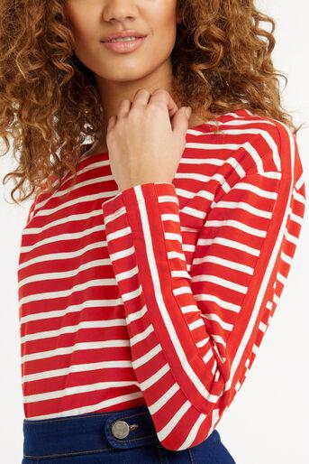 Oasis, Stripe Long Sleeved Top Multi Red 4