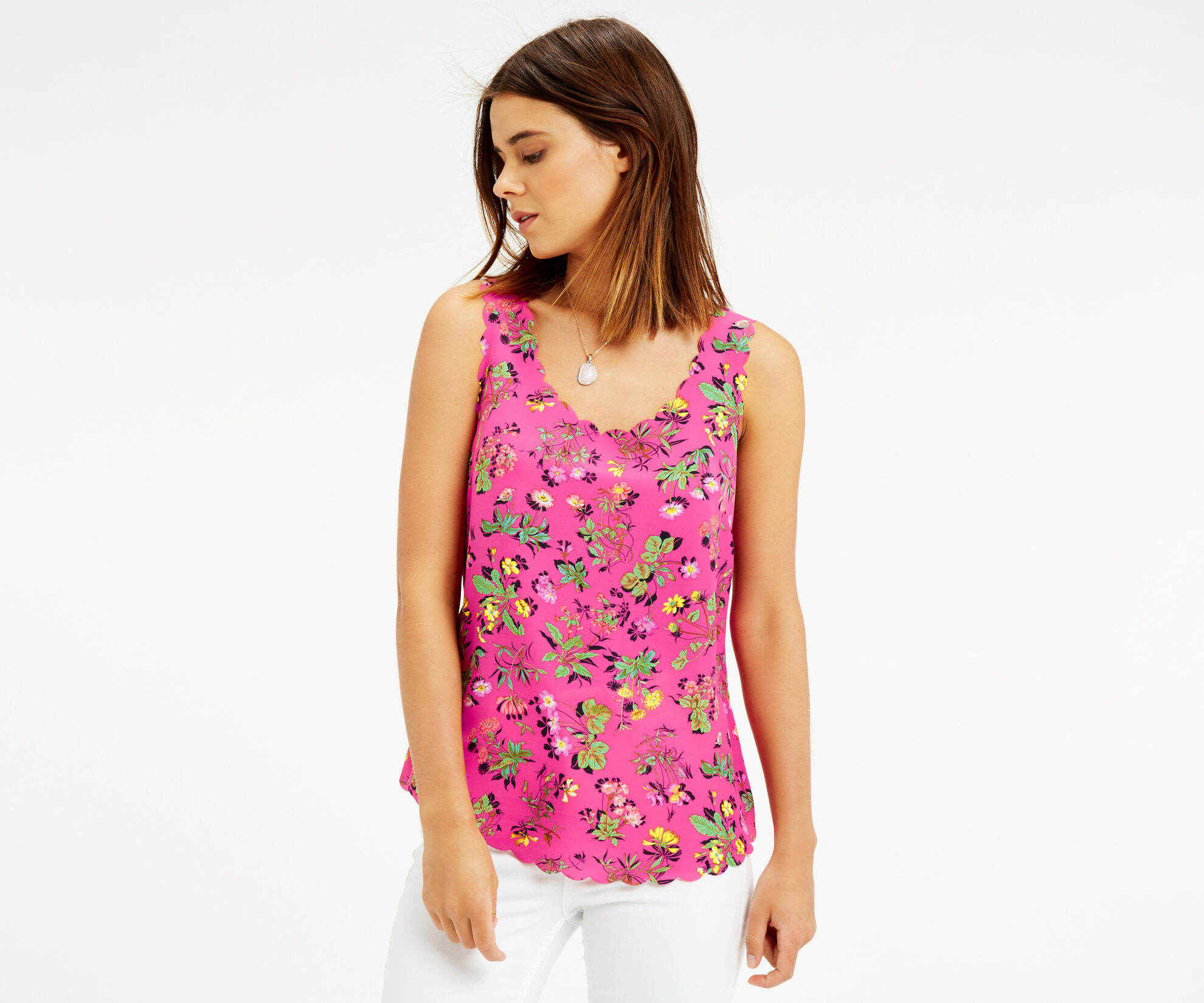 Oasis, Sophia Scallop Vest Multi Pink 1