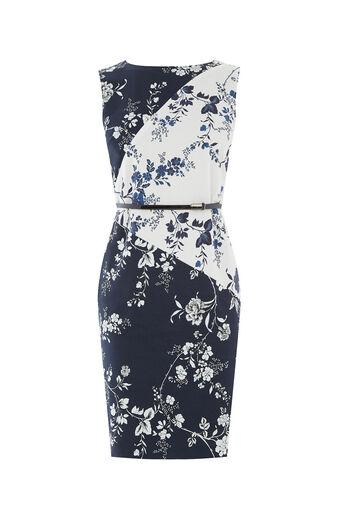 Oasis, SASHIKO PENCIL DRESS Multi Blue 0
