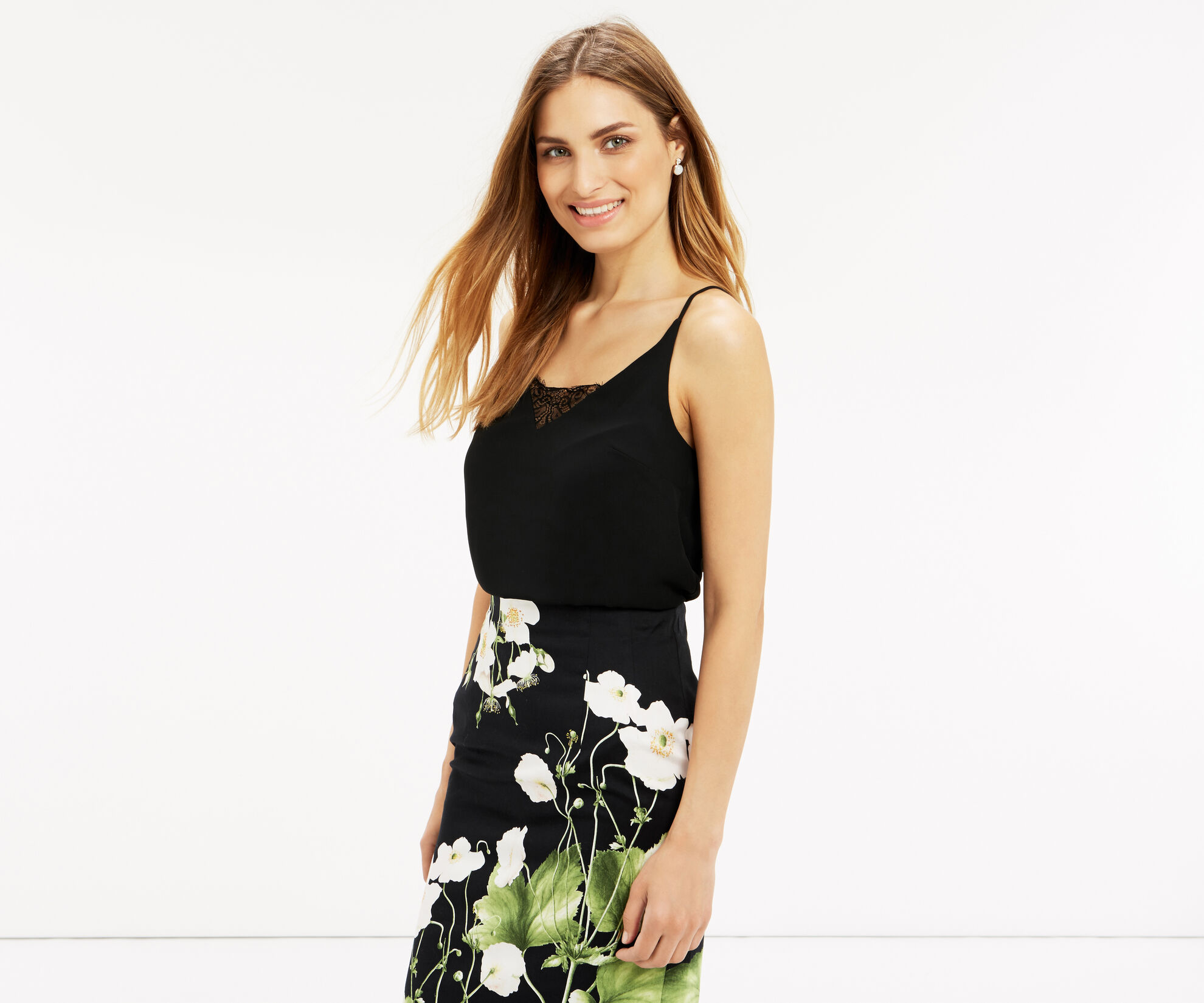 Oasis, LACE INSERT SQUARE BACK CAMI Black 1