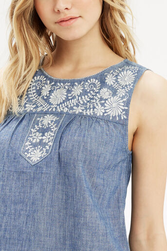 Oasis, Alicia Embroidered Top Denim 4