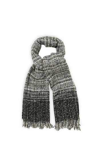 Oasis, OMBRE BOUCLE SCARF Black and White 0