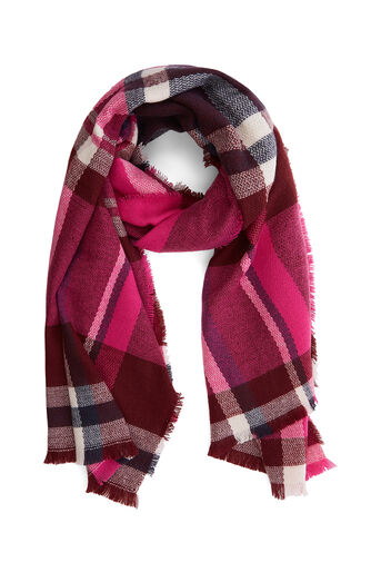 Oasis, ANNABELLE CHECK SCARF Burgundy 0