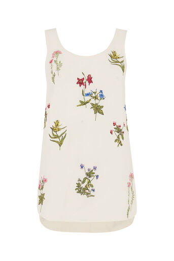 Oasis, Floral Embroidered Vest Off White 0