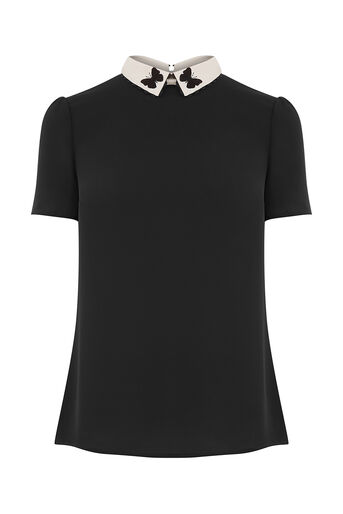 Oasis, EMBROIDERED COLLAR BUTTERFLY T Black 0