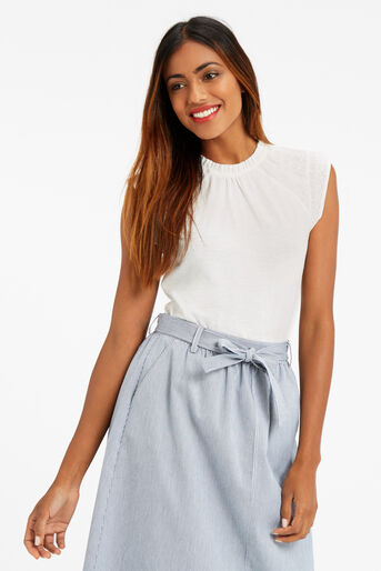 Oasis, PRETTY PINTUCK TOP Off White 1
