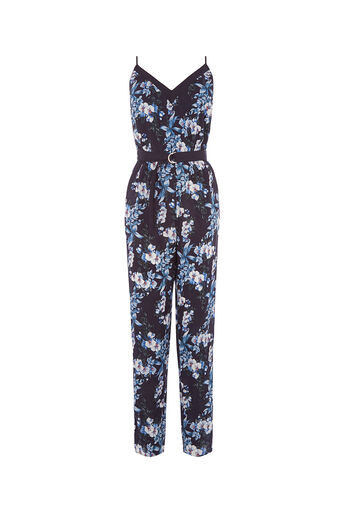 Oasis, TROPICAL BOTANICAL JUMPSUIT Multi Blue 0