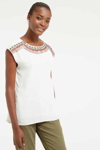 Oasis, EMBELLISHED TOP Off White 1