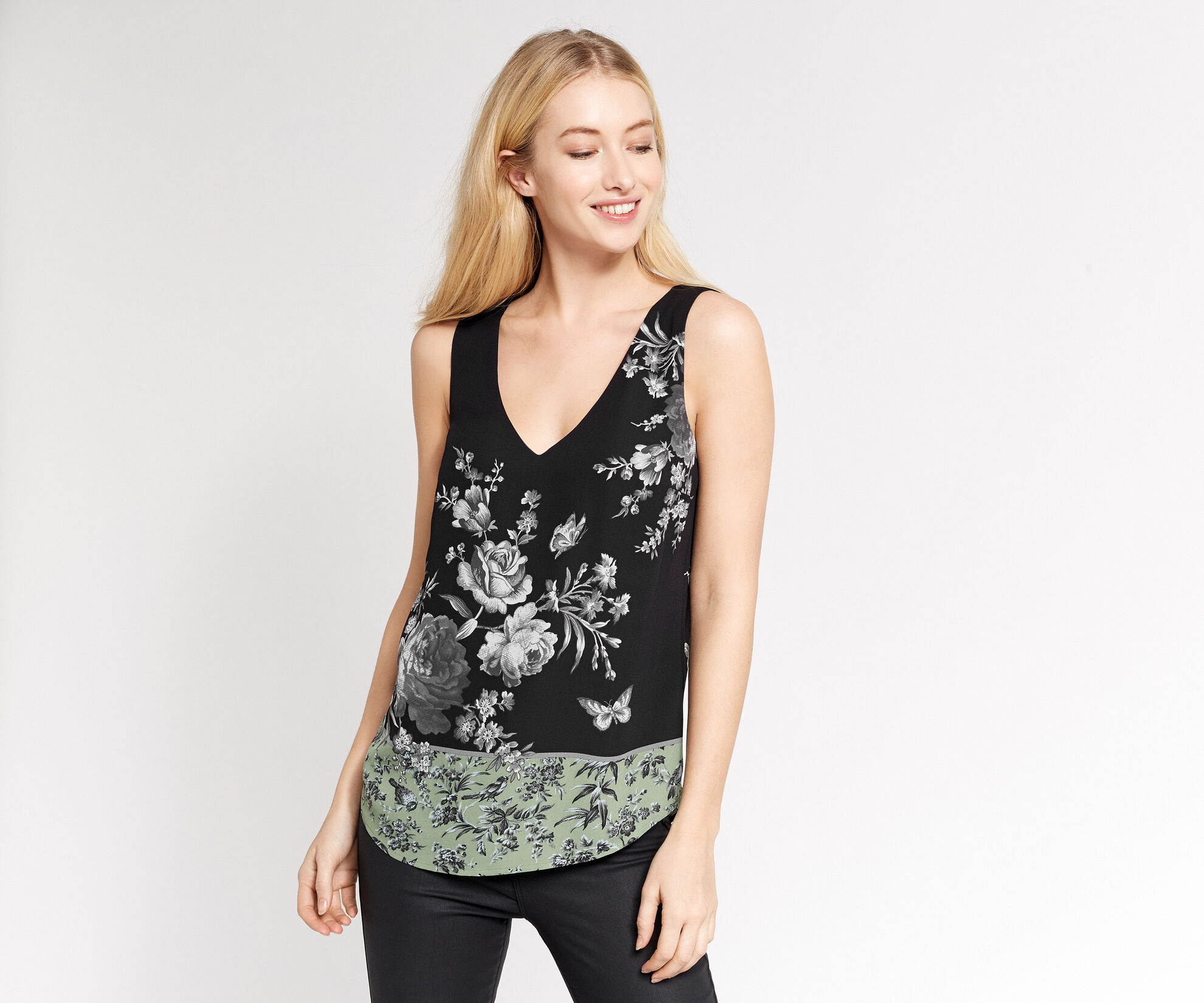 Oasis, CHINTZ PATCHED VEST Multi Green 1