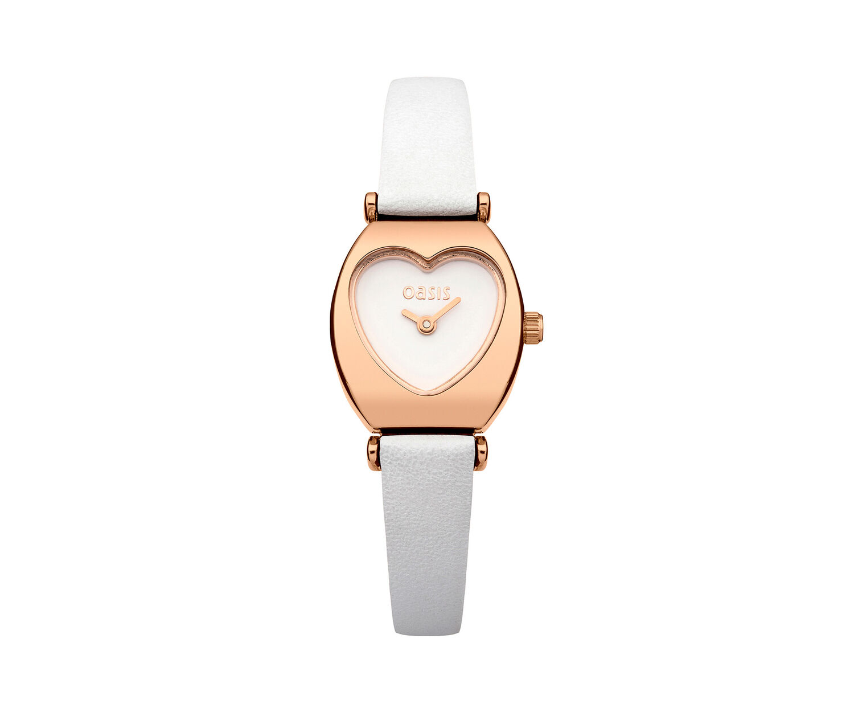 Oasis, White Strap Heart Dial Watch White 0