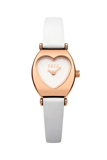 Oasis, White Strap Heart Dial Watch White 0