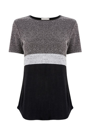 Oasis, TWEED PATCHED TEE Black and White 0
