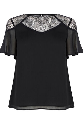 Oasis, Lace Trim Fluted Sleeve Top Black 0