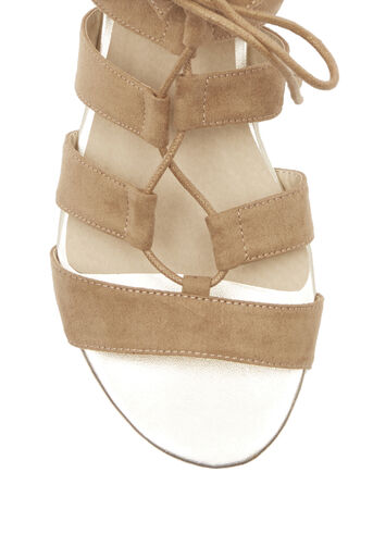 Oasis, Winona Lace Up Ghillie Wedge S Stone 3