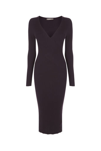 Oasis, Rib wrap dress Dark Purple 0