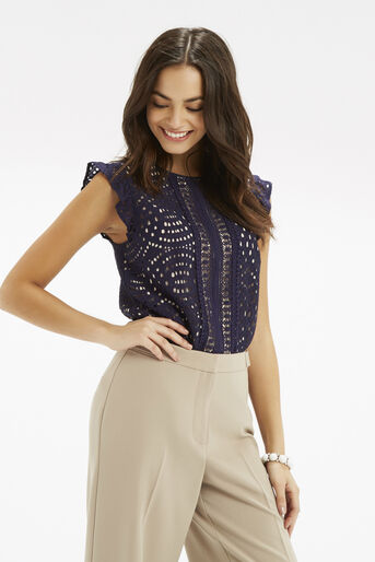 Oasis, Frill Sleeve Geo Lace Top Navy 1
