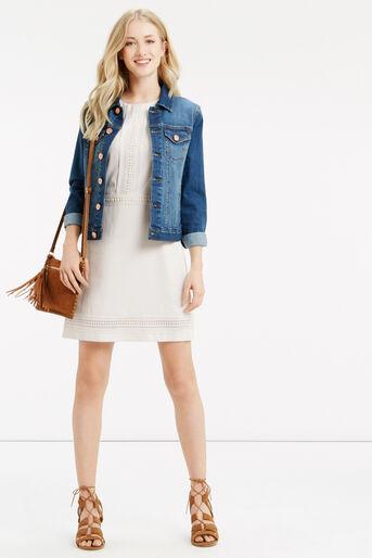 Oasis, Lace Trim Dress White 2