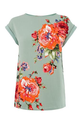 Oasis, ROSE PLACEMENT LACE TRIM TEE Multi Green 0