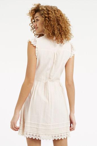 Oasis, Delicate Lace Yoke Shirt Dress Off White 3