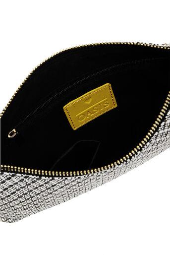 Oasis, Monica Tassel Clutch Bag Black and White 4