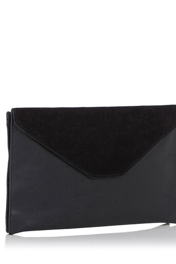 Oasis, Charlie Suede Patched Clutch Black 1