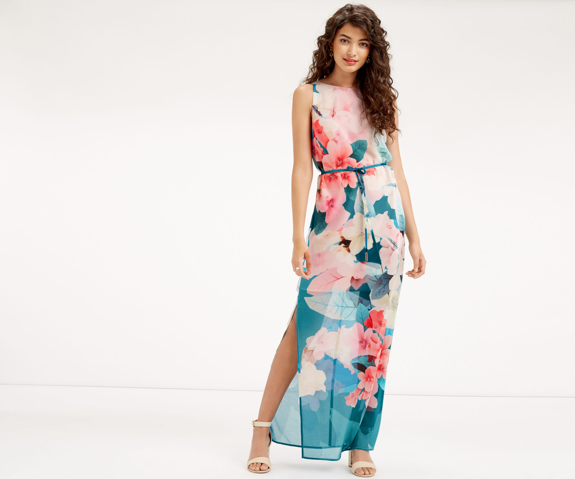 Oasis, FLORAL MAXI DRESS Teal Green 1