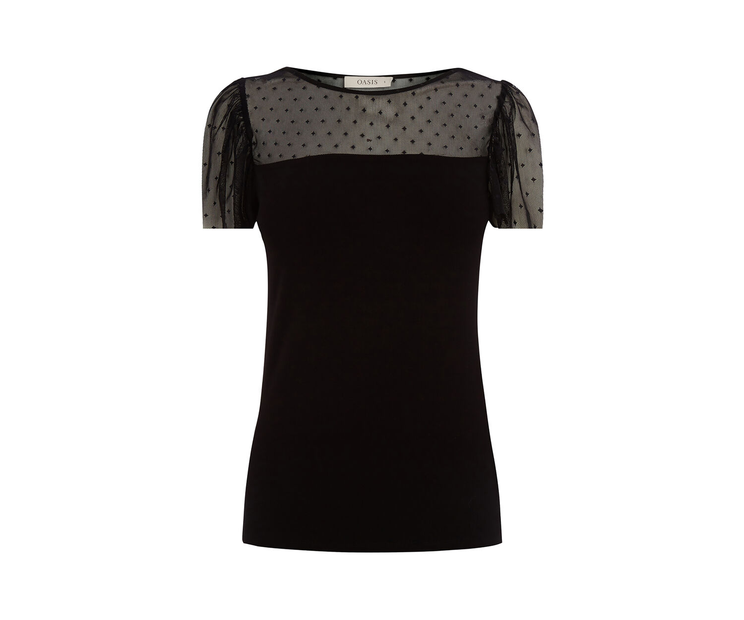 Oasis, ruffle mesh fittted top Black 0