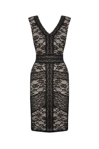 Oasis, LACE BODYCON DRESS Black 0