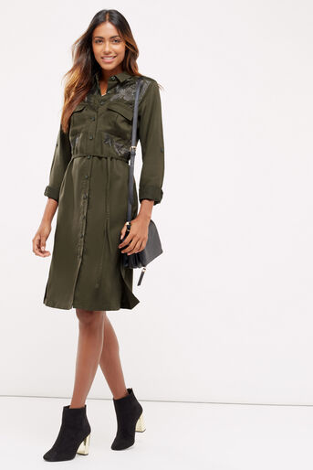 Oasis, Blossom emb utility dress Khaki 2