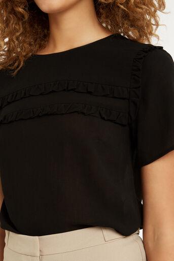 Oasis, Frill Detail T-Shirt Black 4