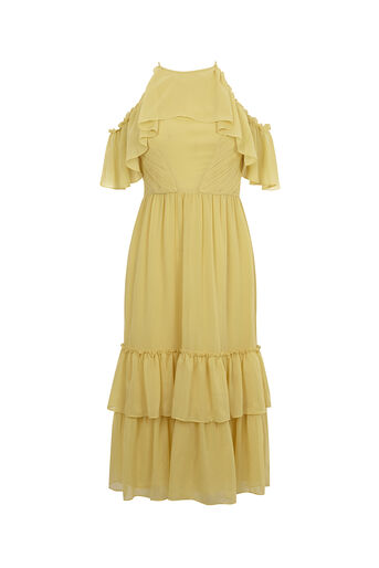 Oasis, RUFFLE MIDI DRESS Mid Yellow 0