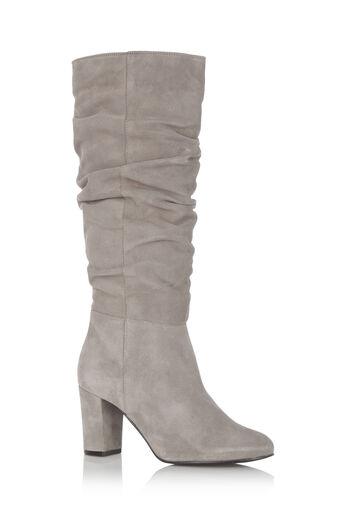 Oasis, Slouchy Block Heel Boot Mid Grey 0