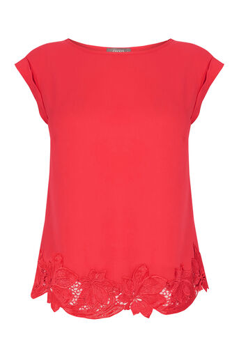 Oasis, Lace Hem T-Shirt Mid Red 0