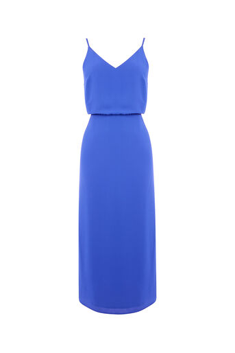 Oasis, TIE BACK MIDI DRESS Rich Blue 0