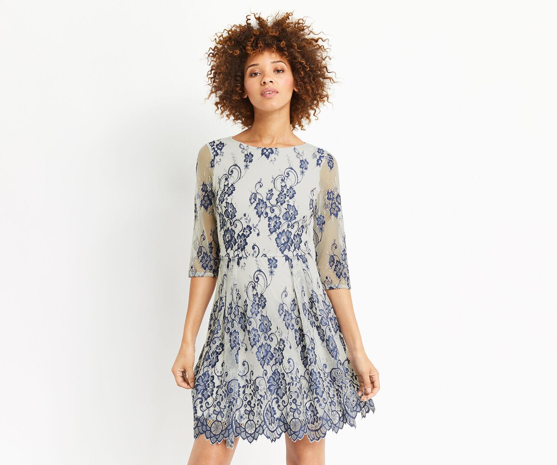 Oasis, 3/4 SLEEVE LACE DRESS Multi Blue 1