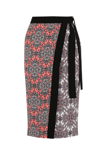Oasis, Sintra Tile Wrap Pencil Skirt Multi 0
