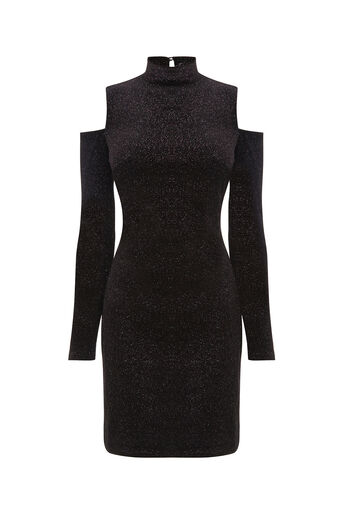 Oasis, VELVET CUT-OUT DRESS Black 0