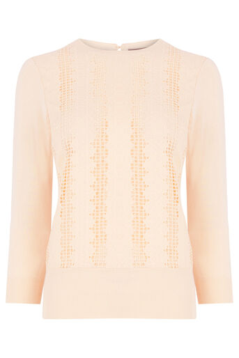 Oasis, Lace Front Knit Pale Pink 0