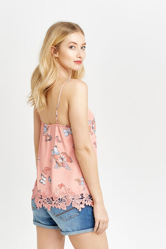 Oasis, BUTTERFLY LACE TRIM CAMI Coral 3