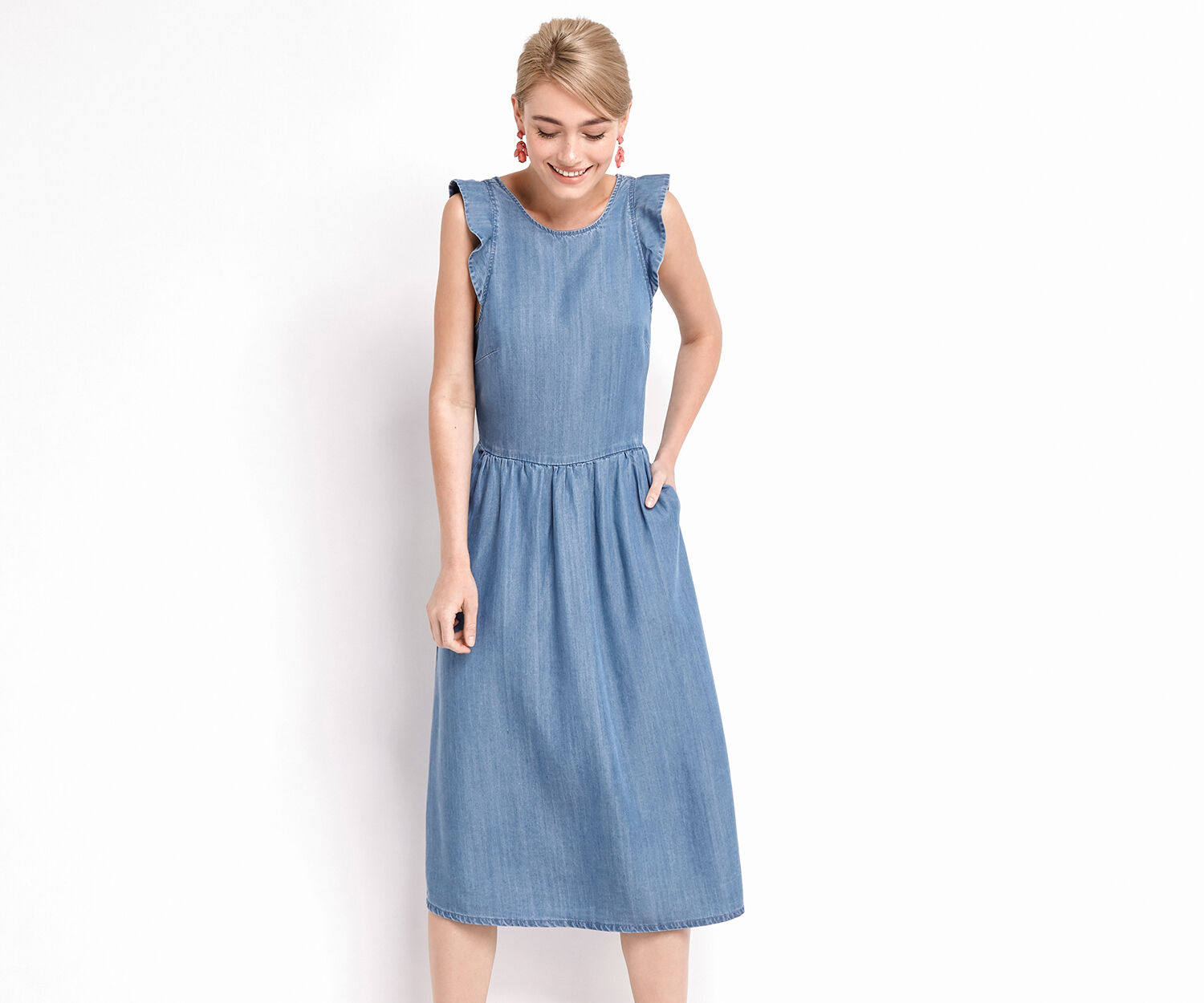 Oasis, RUFFLE MIDI DRESS Denim 1