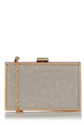 Oasis, Gold Glitter Box Clutch Gold 0